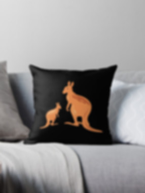 Cushion with kangaroo design