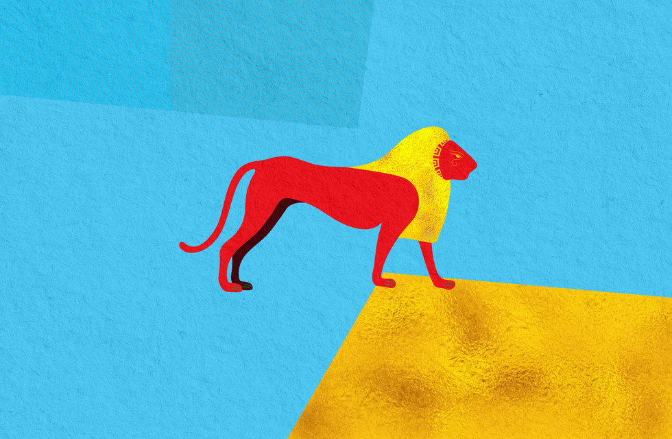 Pop art style ancient Egyptian lion design