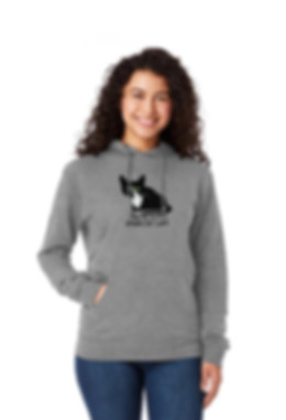 Model wears gret hoodie with cat design saying Take me t the crazy cat lady