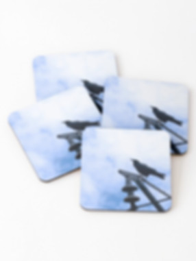 Coasters with raven photo design and sky background