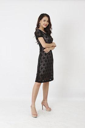 Váy ren đen viền hồng