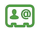 Contact card with @ symbol
