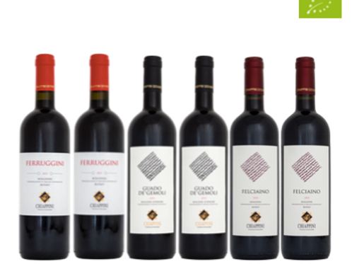 """6 bottiglie - Cassa mista Chiappini:""""I GRANDI ROSSI DI BOLGHERI"""""""