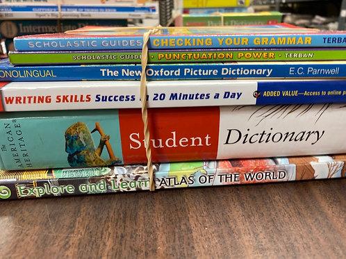References - dictionary, writing, atlas