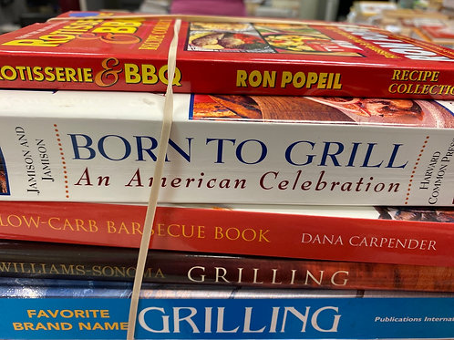 Cookbooks grilling, BBQ, low carb, Williams and Sonoma