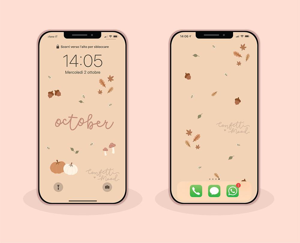 Immagine di due cellulari con gli sfondi di ottobre. Il primo con il blocca schermo e il secondo con la schermata home. Tutto su sfondo rosa. Gli sfondi sono tempo autunnale: zucche, funghi, ghiande e foglie sono i protagonisti.