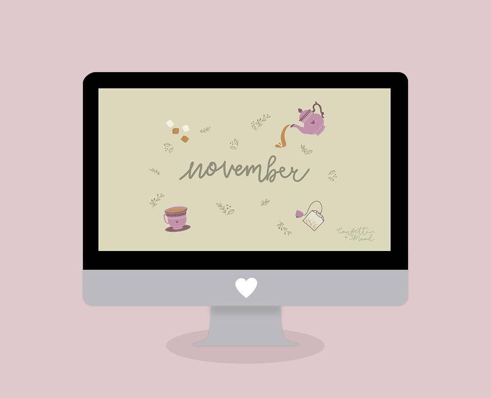 Immagine di un computer con lo sfondo di Novembre come desktop.