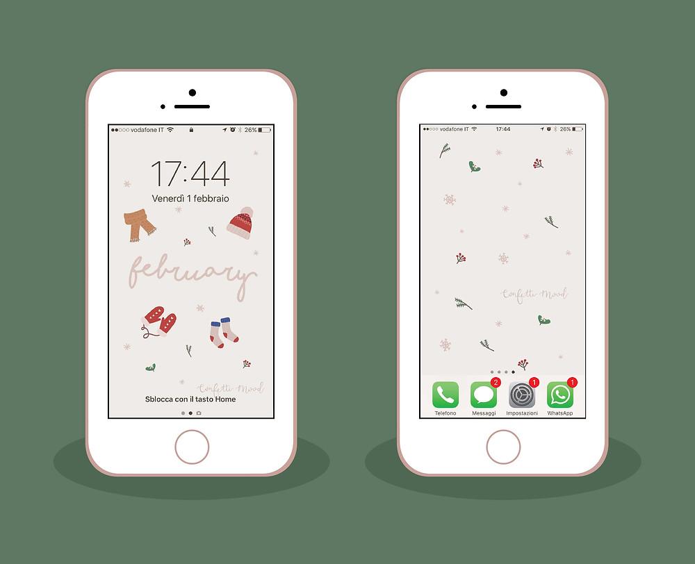 Freebies - Sfondo iPhone e Cellulare - Febbraio - Confetti Mood
