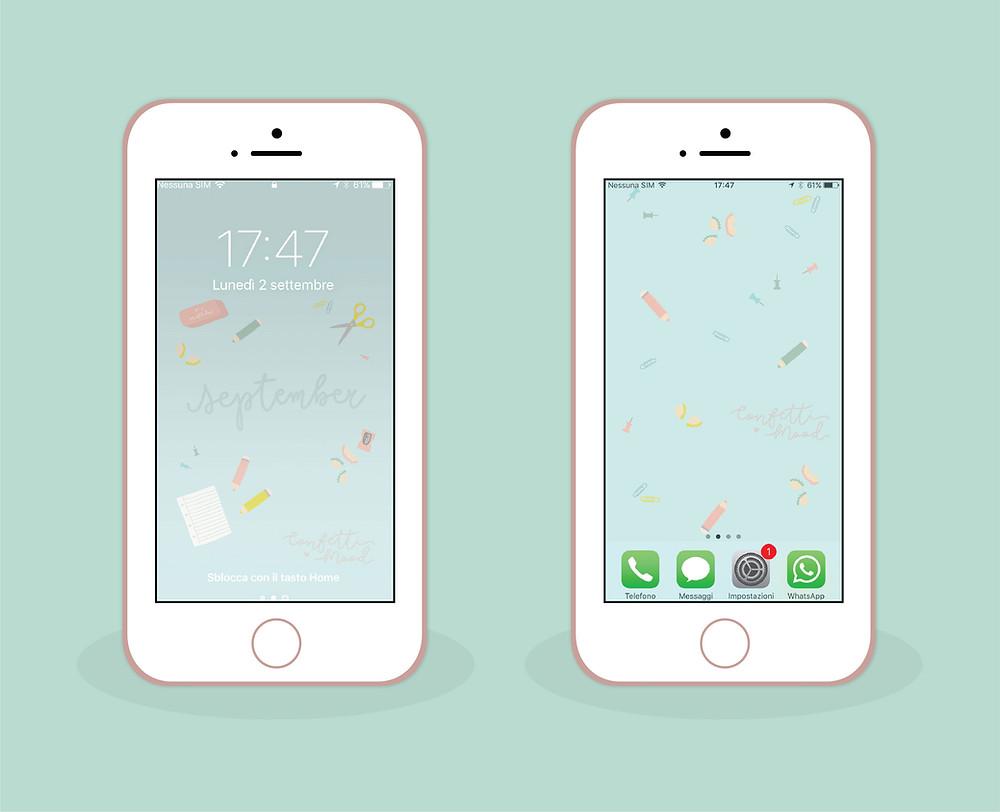 Sfondi per cellulare (sia blocca schermo che home)  di settembre con protagonisti oggetti di cancelleria: temperino, matite, gomma, forbici, diario e puntine