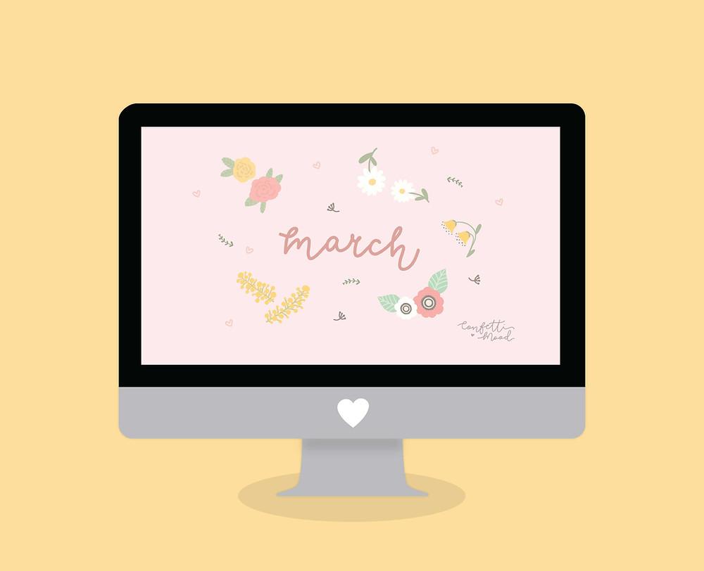 Sfondo Computer di Marzo 2019 da scaricare gratis. Sfondo illustrato con fiori vari: margherite, rose, anemoni, campanule e mimosa.