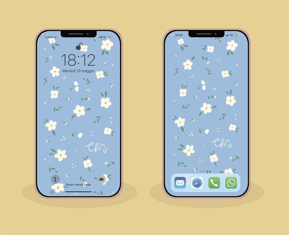 illustrazione di due cellulari ognuno con. lo sfondo azzurro pieno di margherite bianche e foglie