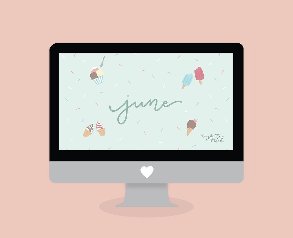 Illustrazione di un computer Mac con lo sfondo nuovo di giugno. La scritta June è circondata da gelati e ghiaccioli.
