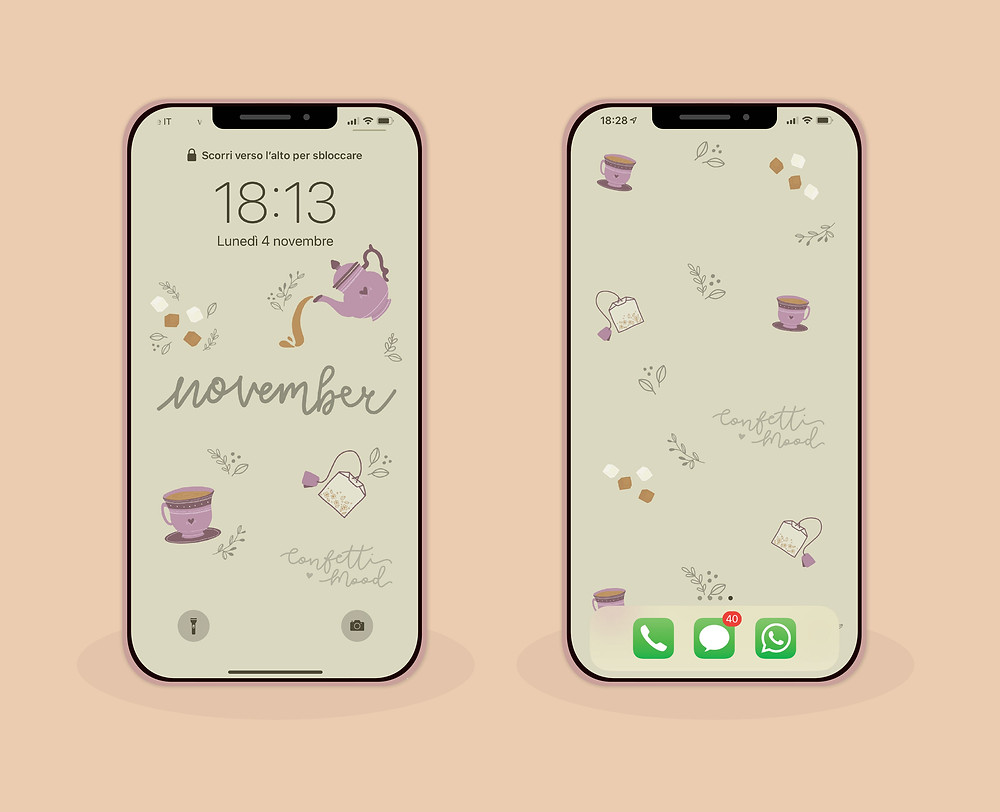 Immagine di due iPhone con gli sfondi del mese di Novembre. Uno con il blocca schermo e l'altro con la schermata home.