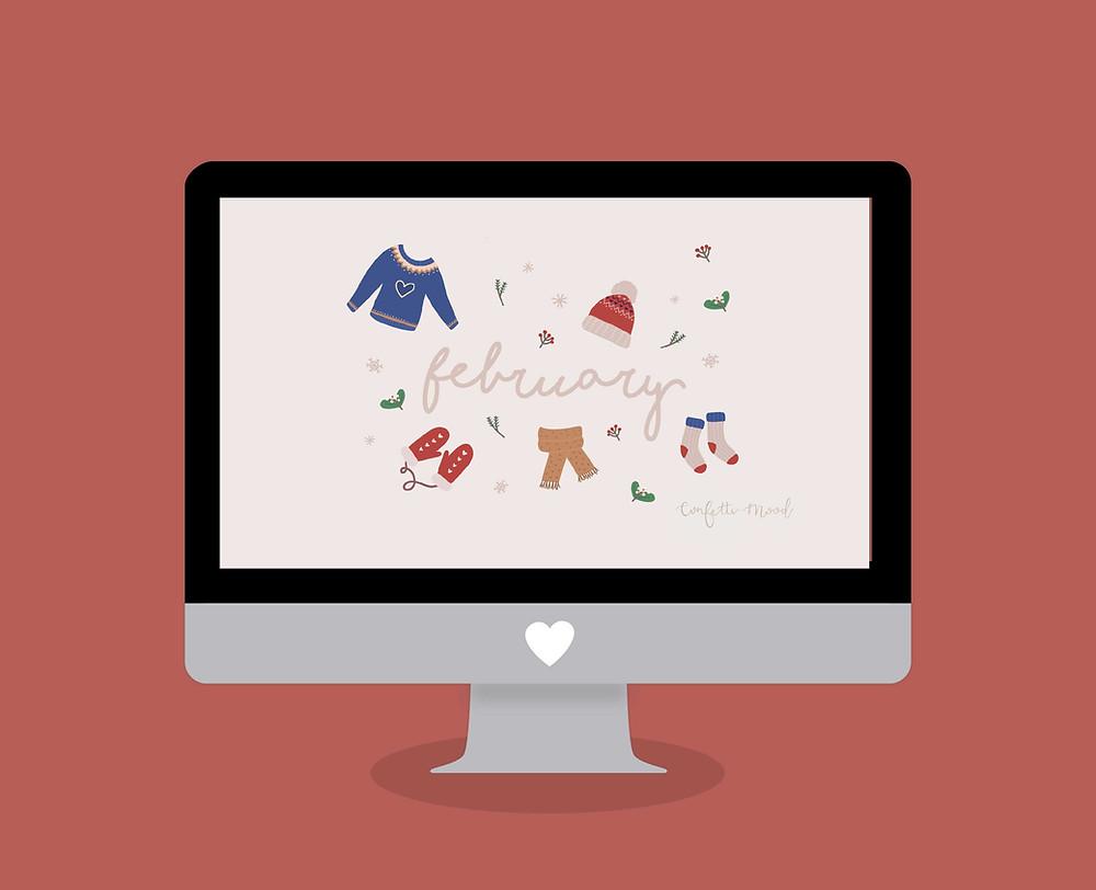 Freebies - Sfondo Computer MAC e PC - Febbraio - Confetti Mood