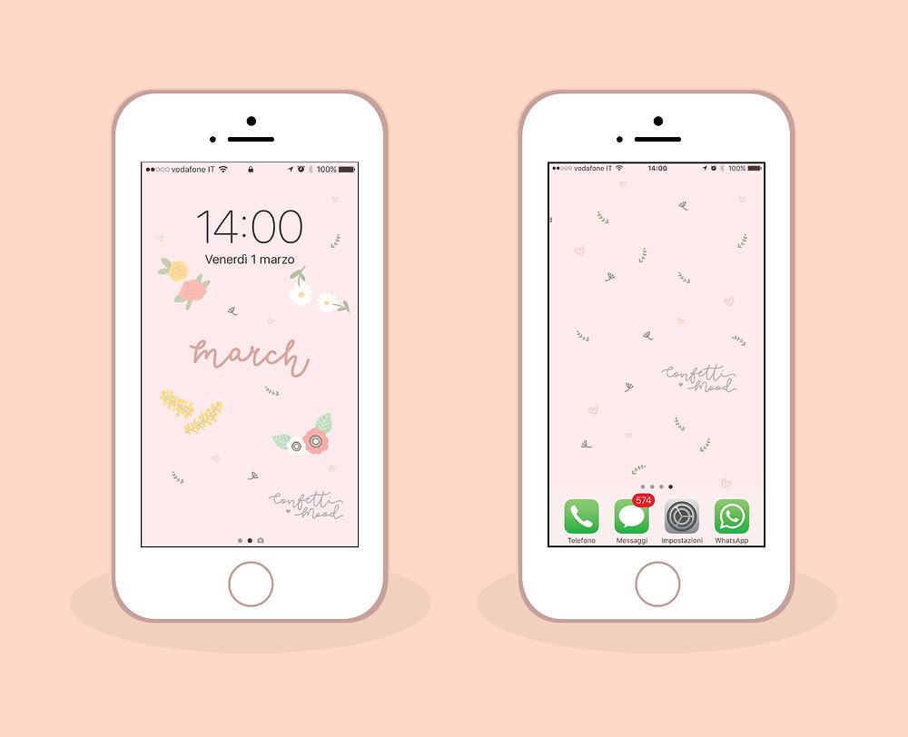 Sfondi per iPhone (blocca schermo e schermata home) di Marzo 2019 da scaricare gratis. Sfondo illustrato con fiori vari: margherite, rose, anemoni e mimosa.