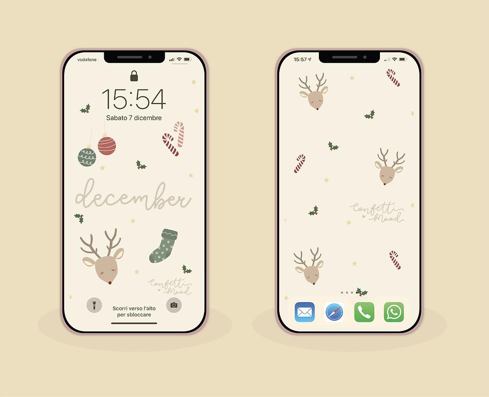 immagine di due cellulari con gli sfondi di natale con una renna i bastoncini di zucchero una calzetta e due palline.