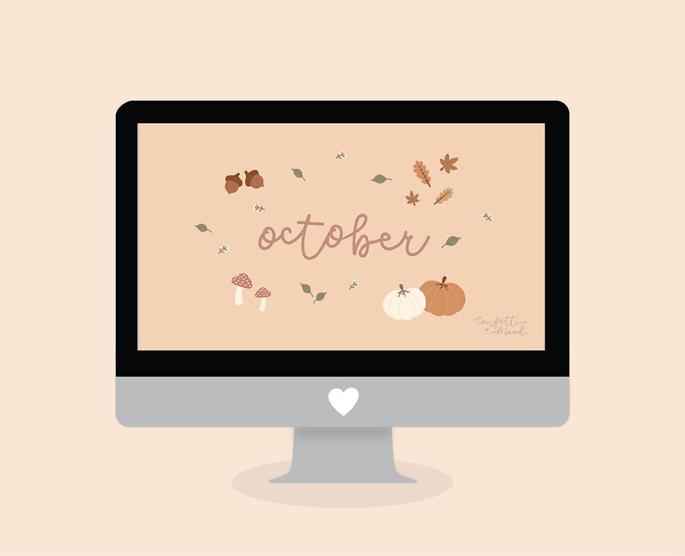 Immagine di un Mac con lo sfondo di ottobre. Il primo con il blocca schermo e il secondo con la schermata home. Tutto su sfondo rosa. Gli sfondi sono tempo autunnale: zucche, funghi, ghiande e foglie sono i protagonisti.