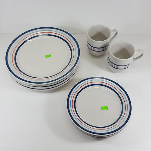 Totally Today Dish Set - White With Blue & Red Stripes