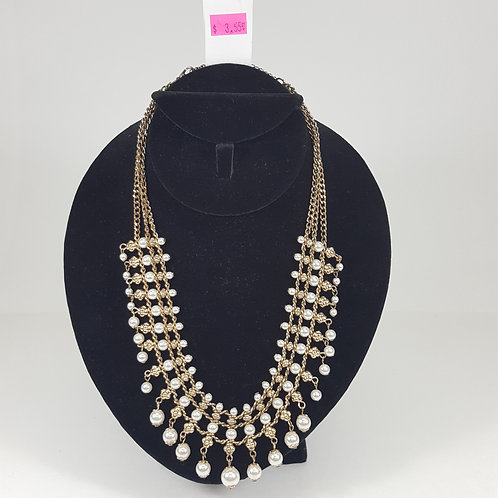Cascading Gold & Pearl Neclace