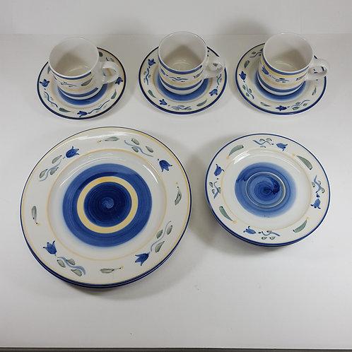 Majesticware By Sakura Dish Set - Blue, Yellow, & White