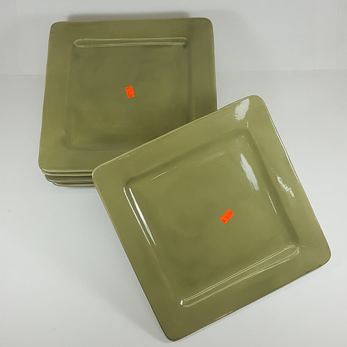 Set of 6 Tabletop Gallery Square Plates - Sage Green