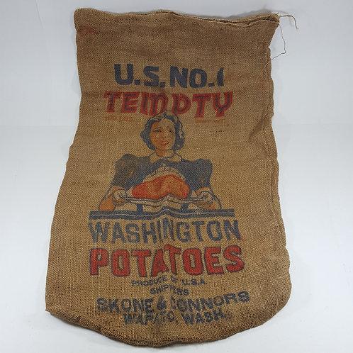 Vintage Tempty Washington Potatoes Burlap Sack
