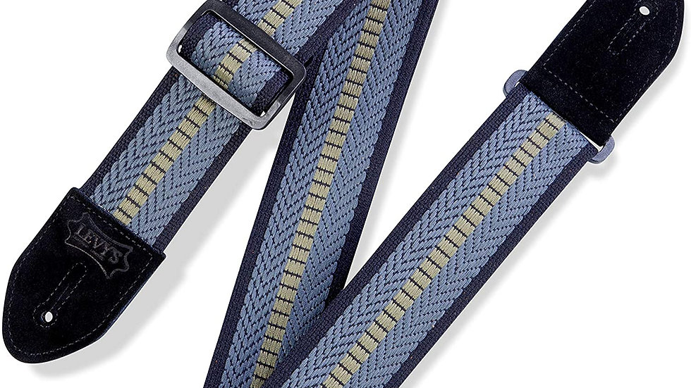 """Levy's Leathers 2"""" Cotton Guitar Strap Pelham Weave Design; Blue, Navy, and Gree"""