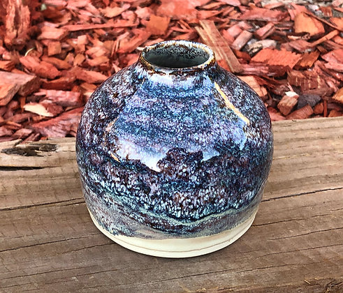 Deep Blue and Burgundy Speckled Vase - only 1 available