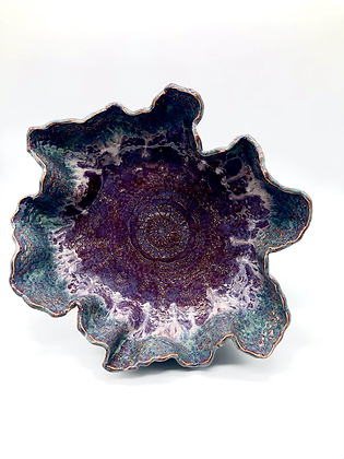 Purple and Misty Blue Lace-Embossed Wave Bowl