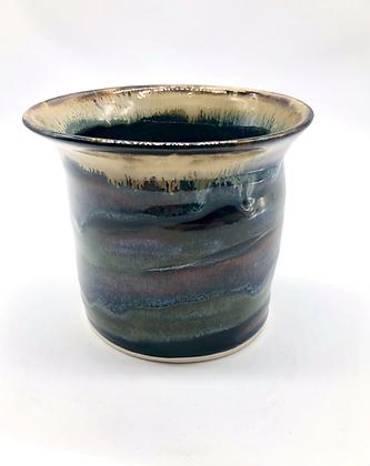 Green, Purple, and Tan Swirl Vase