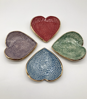 Set of Four Heart Trinket Dishes - only 1 set available