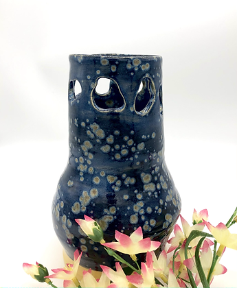 Deep Blue 'Cut Out' Vase With Yellow Crystal Specks - only 1 available
