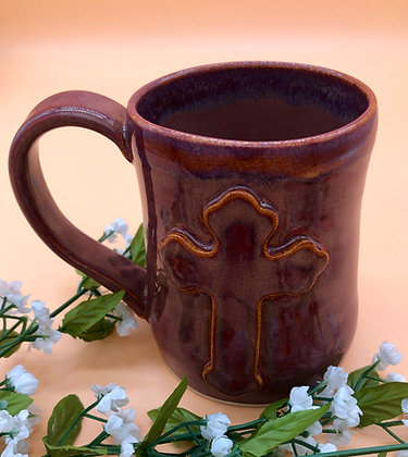 Rich Rust Stoneware Mug with Cross - only 1 available