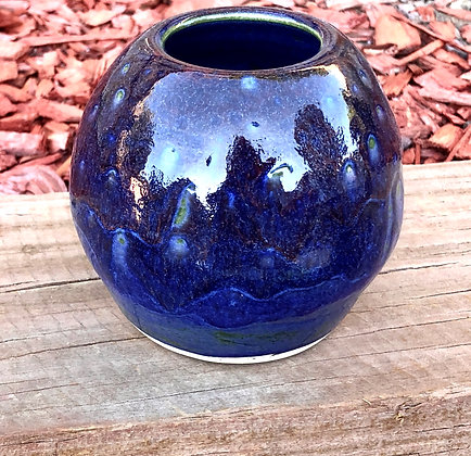 Blue and Deep Burgundy Spotted Vase - only 1 available
