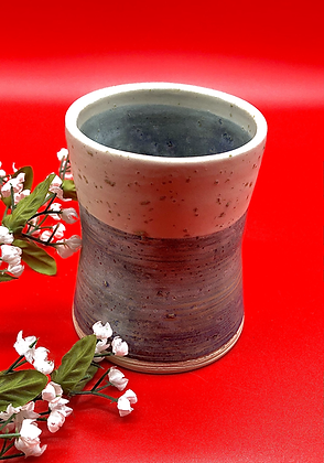 Rustic Blue/Gray Stoneware Tumbler with Off-White Rim - only 1 available