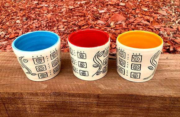 Set of Three Sweet Etched Tumblers - only 1 set available