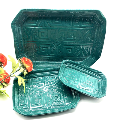 Set of Three Emerald Green Nesting Plates- only 1 set available