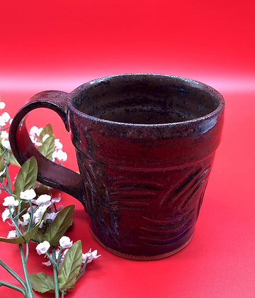 Dark Blue and Brown Carved Stoneware Mug - Only 1 available