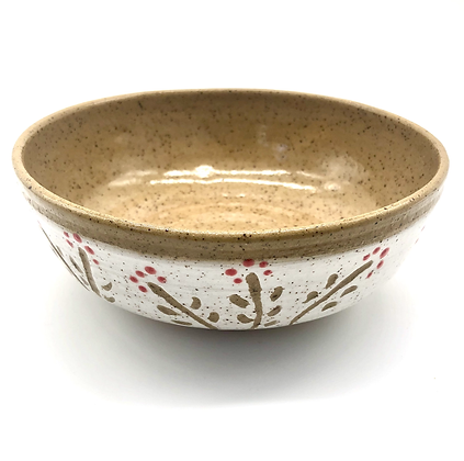 Tan, White, and Red Stoneware Bowl - only 1 available