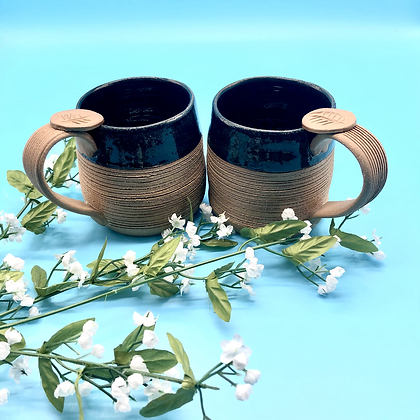 Pair of Deep Blue and Tan Stoneware Mugs - only 1 pair available