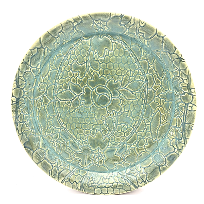 Sea Green Stoneware Lace-Embossed Plate - only 1 available