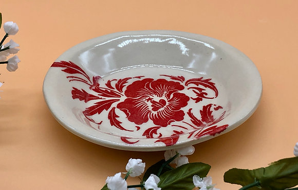 Sweet Red and White Floral Round Trinket Dish - only 1 available