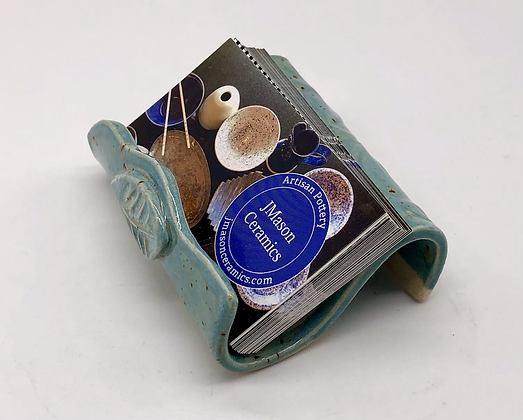 Sea Green Speckled Business Card Holder