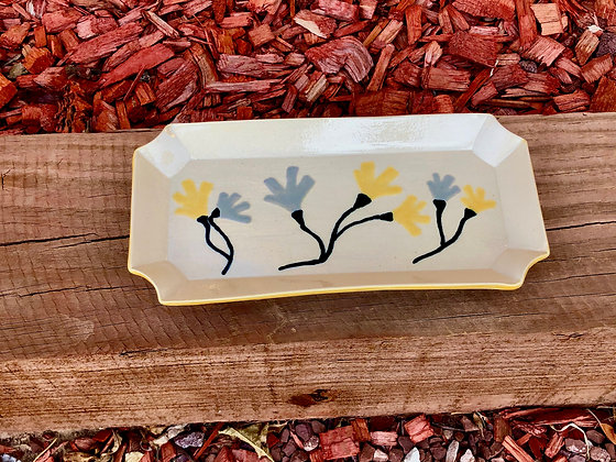 Off-White, Yellow and Floral Stoneware Serving Dish - only 1 available
