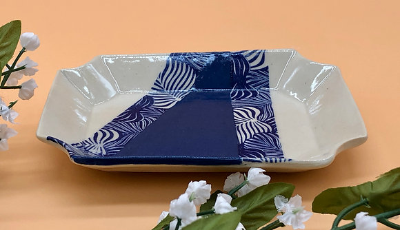 Blue and White Trinket Dish with Patterned Leaves - only 1 available