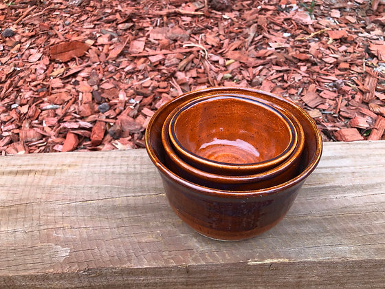 Three Small Rust Nesting Bowls - only 1 set available
