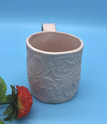 Pale Matte Pink Embossed Mug - Only 1 available