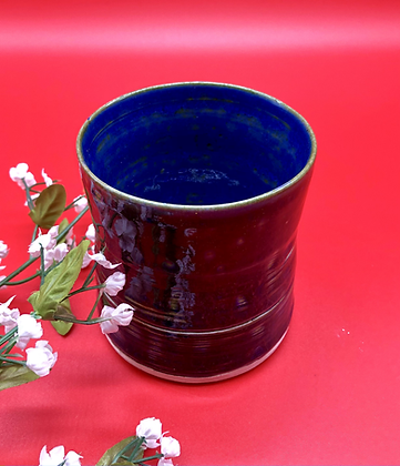 Deep Burgundy and Blue Stoneware Tumbler - only 1 available