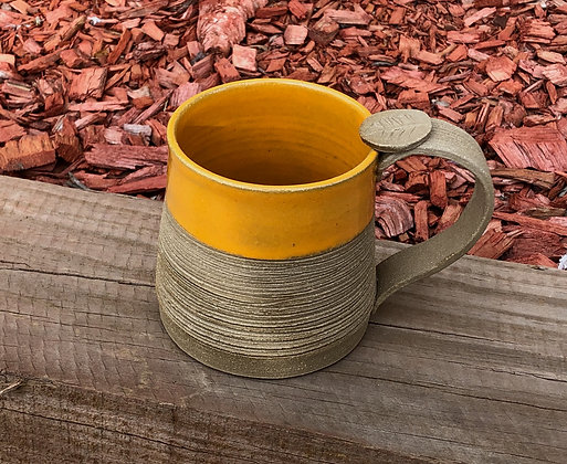 Tan and Yellow Stoneware Mug - Only 2 available