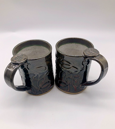 Pair of Brown and White Speckled Stoneware Mugs